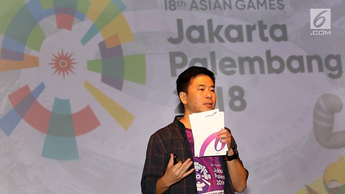VP Consumer Healthcare & Wellness and International Operation Combiphar, Weitarsa Hendarto memberikan sambutan pada acara penutupan kampanye tagar #IndonesiaKalahkanBatas, di Jakarta, Selasa (25/9). (Googleberita.com/Fery Pradolo)