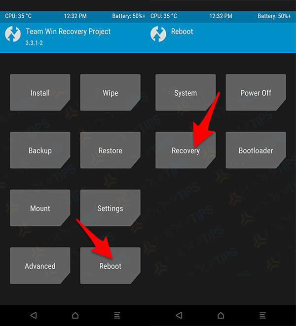 Reboot Recovery TWRP
